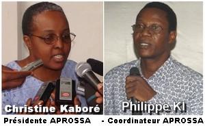 Christine Kaboré : présidente APROSSA, Pkilippe Ki : coordinateur APROSSA