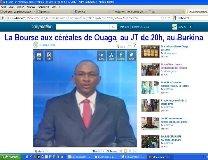 La bourse aux céréales de Ouaga au JT au Burkina