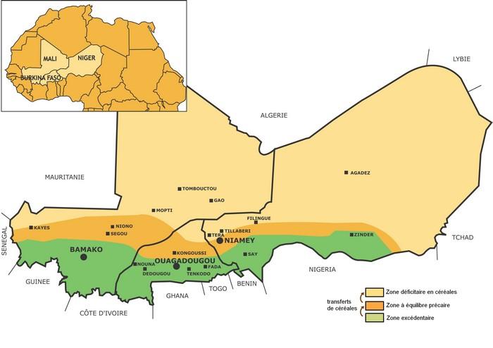 Carte des zones d'intervention d'Afrique Verte, zones excédentaires et déficitaires
