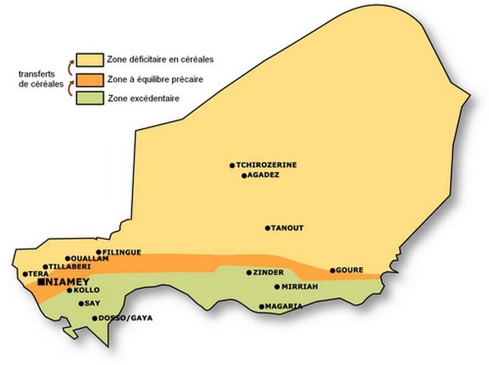 Carte des zones excédentaires et déficitaires au Niger