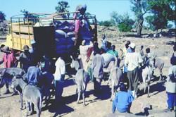 Déchargement d'un camion de céréales en zone déficitaire